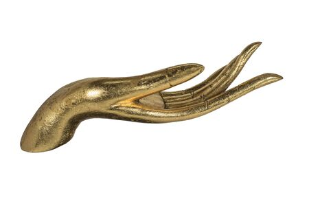 believes: golden  hand isolated (handcrafts made by native people in Thailand)