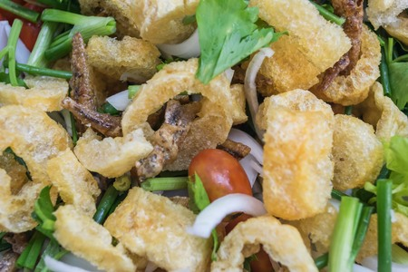 rind: pork rind salad in stainless bowl Stock Photo