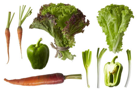 gastronome: fresh green vegetables isolated on white Stock Photo