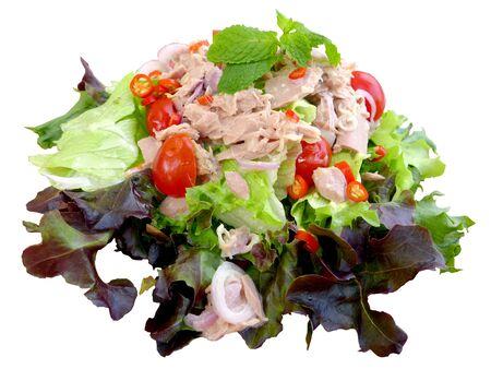Tuna salad with white background Stock Photo