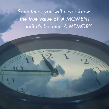 Inspirational quote words on clock and the sky