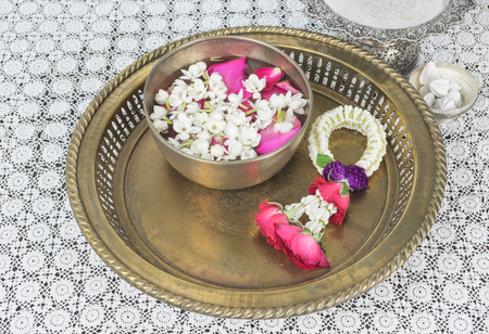 Thai garland Flowers and Water with jasmine and roses corolla in bowl(Songkran festival)