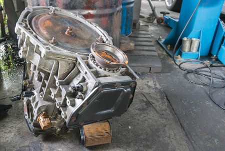 The parts of car engine at automobile repair shops