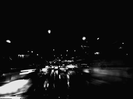blur traffic lights in black and white Stock Photo