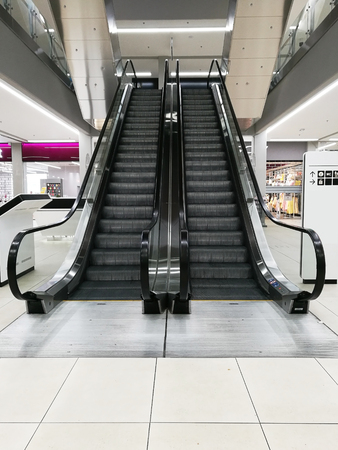 Front view of an escalator in the shopping mall