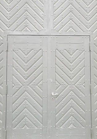 vintage white wood door close up Stock Photo
