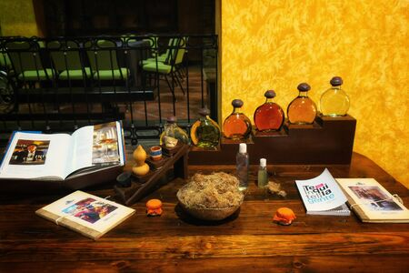Different types of tequila in Tequila village, Mexico