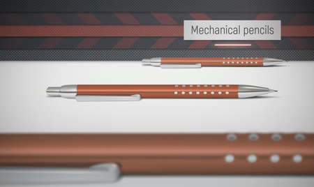 A vector image depicting realistic mechanical pencils in red color. In the foreground lies a blurry out-of-focus mechanical pencil. Background is abstract. Illustration