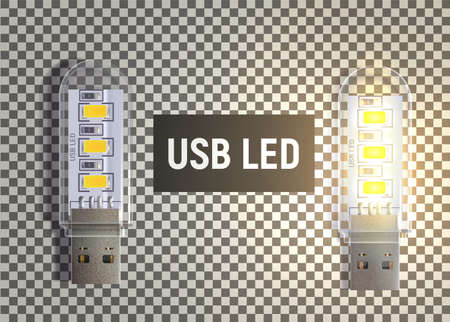 USB LED lamp to illuminate something. One lamp shines with warm light and second is off. Illustration