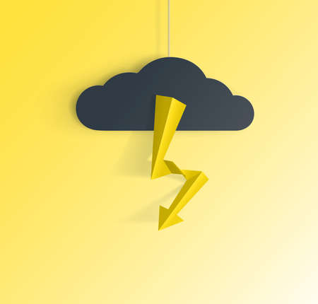 Vector illustration of a lightning stroke. A paper cloud hangs on a string and supposedly from it beats lightning.