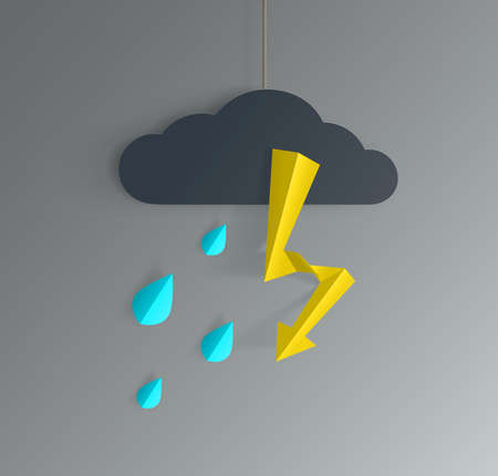 Vector illustration depicts rainy day and thunderbolt. A paper cloud hangs on the thread and supposedly raindrops fall from it and lightning strikes.