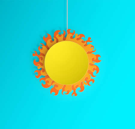 Vector illustration depicts a sunny day. A paper warm sun hangs on threads.