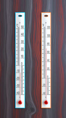 Vector ilustrated two thermometers that lie on a wooden background.