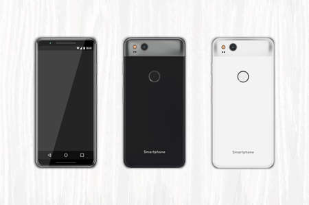 Vector ilustrated smartphone in black and white colors front and back. It lies on a wooden background.