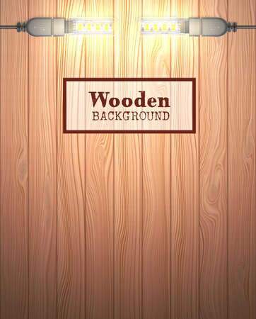 Wood textured background in the form of wooden boards. Light source are USB LED  lamps. Vector illustration. Illustration