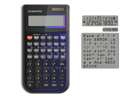 Scientific calculator with solar cell Illustration