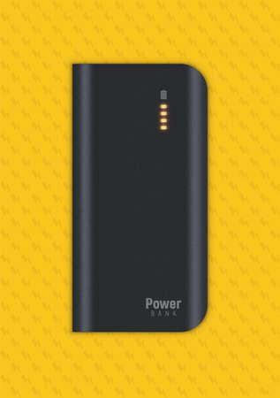 realistic powerbank on yellow background