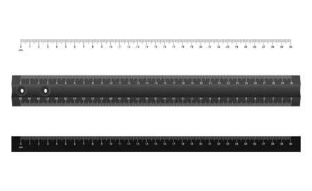 Technical drawing tool. Ruler Graduation. Ruler scale 30 cm. White scale on black background. Vector illustration.