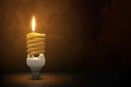Vector Illustration. Fluorescent lamp in the form of a candle. It lighting the dark room during Earth Hour.