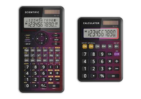 Calculatrices scientifiques et simples avec cellule solaire de couleur nacrée. Illustration vectorielle. Vecteurs