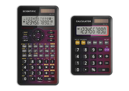 Scientific and simple calculators with solar cell in pearlescent color. Vector illustration.