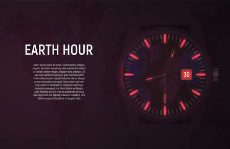 Vector card, banner. The wrist watch in the dark glows due to luminescent backlight. Orange color indicates the time of the Earth hour. Ilustração