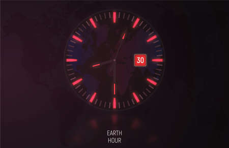 Vector card, banner. The clock in the dark glows due to luminescent backlight. Orange color indicates the time of the Earth hour.