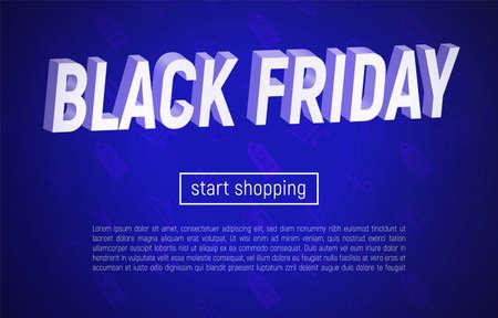 Vector illustration with 3d title on blue background. Black Friday sale banner. Ilustracja