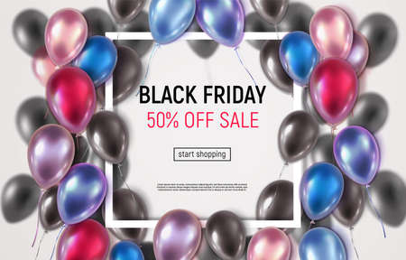 Сolorful glossy 3d balloons around square frame. Vector illustration. Black Friday sale banner. Ilustracja