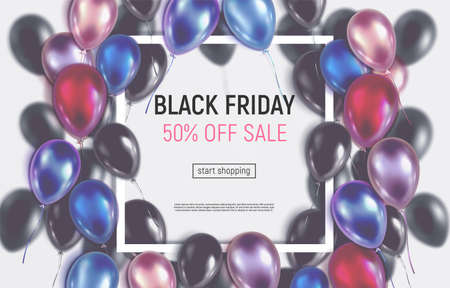 Ð¡olorful glossy 3d balloons around square frame. Tinted vector illustration. Black Friday sale banner.