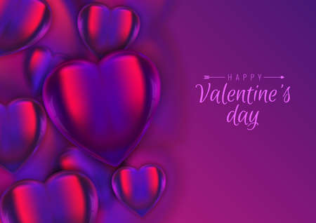 Vector illustration, greeting card, banner. Valentines background, 3d realistic glass hearts on violet colorful backdrop. Copy space, place for text. Ilustracja