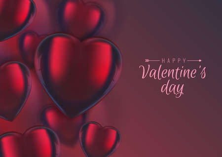 Vector Valentines background, 3d realistic elegant red glass hearts on colorful backdrop. Greeting card, banner, copy space, place for text. Illustration