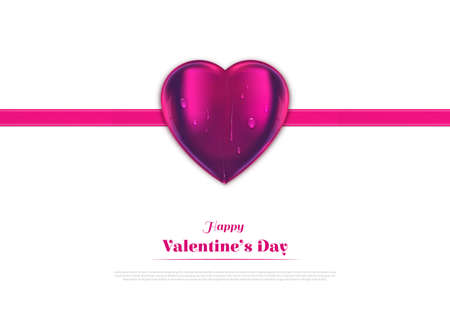 Vector heart with ribbon isolated on white background. Sign for Valentines Day, copy space, greeting card, banner.
