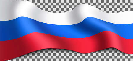 Long Russian flag on transparent background. Flag for any illustrations related to the holidays of Russia and in general with the country. Vector illustration. Illustration