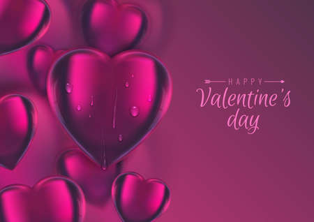 Vector Valentines background, 3d realistic glass hearts on colorful backdrop. Cute droplets lie on  center big heart. Greeting card, banner, copy space, place for text.