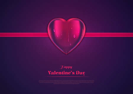 Vector realistic heart with ribbon on textured dark gradient background. There are cute drops on 3d heart. Sign for Valentines Day, copy space, greeting card, banner.