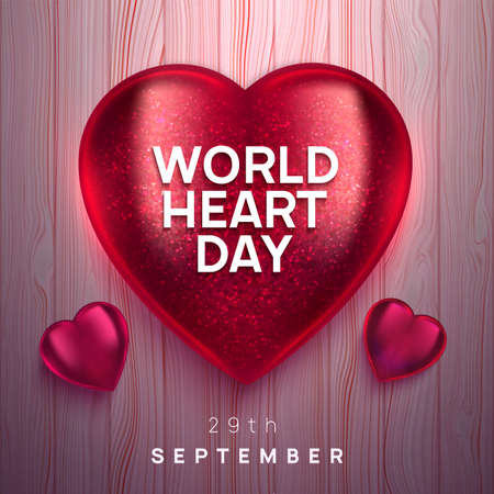World Heart Day realistic vector illustration. 3D shiny glass heart on wooden boards background. Health awareness day. Çizim