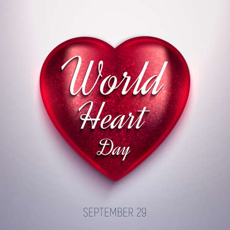 World Heart Day realistic vector illustration. 3D glass shiny heart on light background. Health awareness day.