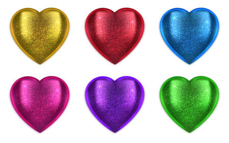 Vector heart with sparkles on ribbon. Realistic objects for decoration, covering, shiny and glossy hearts for design associated with love, romance, medicine. Copy space, greeting card.