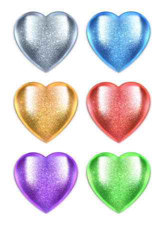 Shiny vector 3d hearts isolated on white background. Glossy hearts set for design associated with love, romance, medicine.