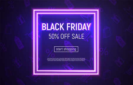 Vector illustrated Black Friday sale banner. Neon square frame on violet background.