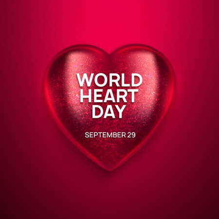 World Heart Day realistic vector illustration. 3D glass shiny heart on red background. Health awareness day.