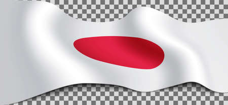 Long Japanese flag on transparent background. Flag for any illustrations related to the holidays of Japan and in general with the country. Vector illustration. Çizim
