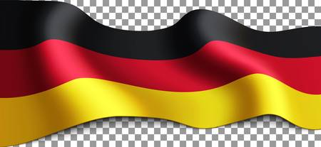 Long German flag on transparent background. Flag for any illustrations related to the holidays of Germany and in general with the country. Vector illustration.