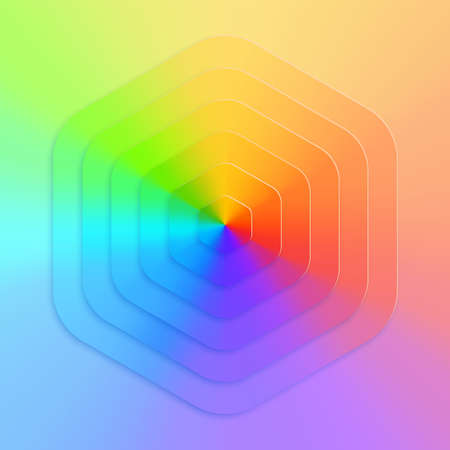 Abstract realistic vector, hexagonal gradient rainbow background. Bright realistic paper cut geometry. Color wheel chart.