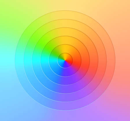 Abstract realistic vector, radial gradient rainbow background. Bright taper realistic paper cut geometry. Color wheel chart.