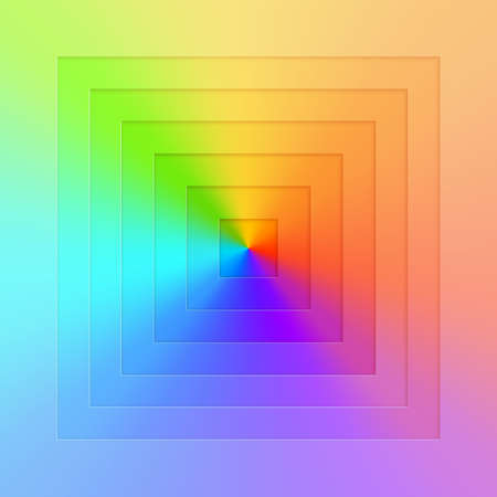 Abstract realistic vector, square gradient rainbow background. Bright  realistic paper cut geometry. Color wheel chart.