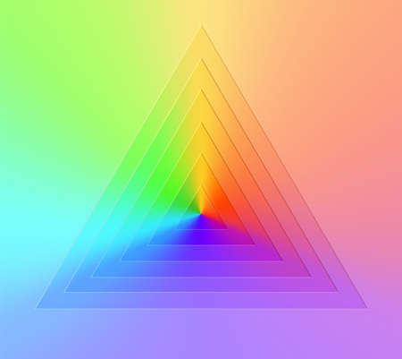 Abstract realistic vector, triangular gradient rainbow background. Bright realistic paper cut geometry. Color wheel chart. Çizim