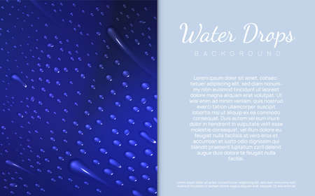 Vector illustration for your design.The illustration consists of two parts. The first is different water drops lie on gradient blue backdrop, the second is a place for text, copy space.