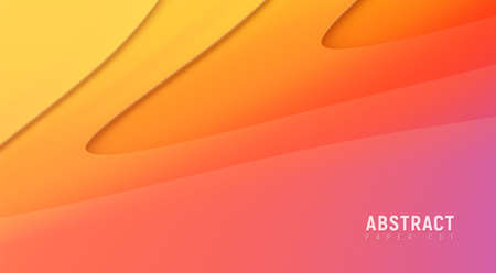 Elegant light paper cut gradient composition. Realistic background for business presentations, flyers, posters. Space for text, copy space. Modern craft, origami vector illustration. Ilustracja